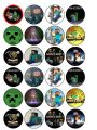 24 x Minecraft Edible Wafer Paper Cup Cake Top Toppers